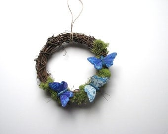 Cottage Blue Butterfly Wreath with Moss