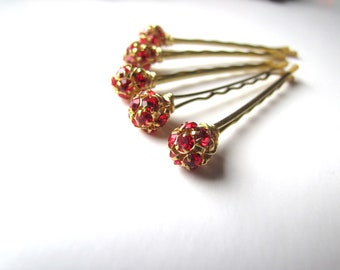 Red and Gold Hair Pins, Rhinestone Crystal Christmas Bobby Pins