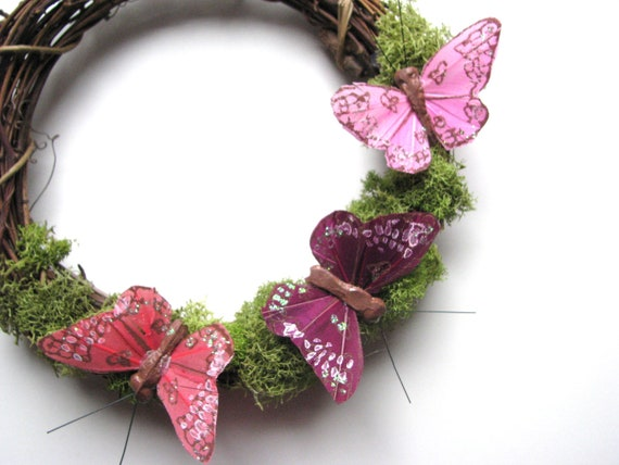 Mossy Wreath with Pink and Plum Butterflies