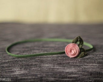 Baby Headband, Pink and Green  Rose Newborn Headband, Great for Photo Prop