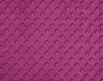 Raspberry Cuddle Dimple/ Dot Minky (Minkee), Cuddle Dimple by Shannon Fabrics, 1 yard