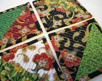 Quilted Christmas Coasters Holly Jolly Reversible Set of 4 Quiltsy Handmade FREE U.S. Shipping
