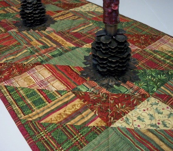 Christmas Table Runner Triangles Plaids Red Gold Green Handmade Quilted Ready to Ship One of a Kind