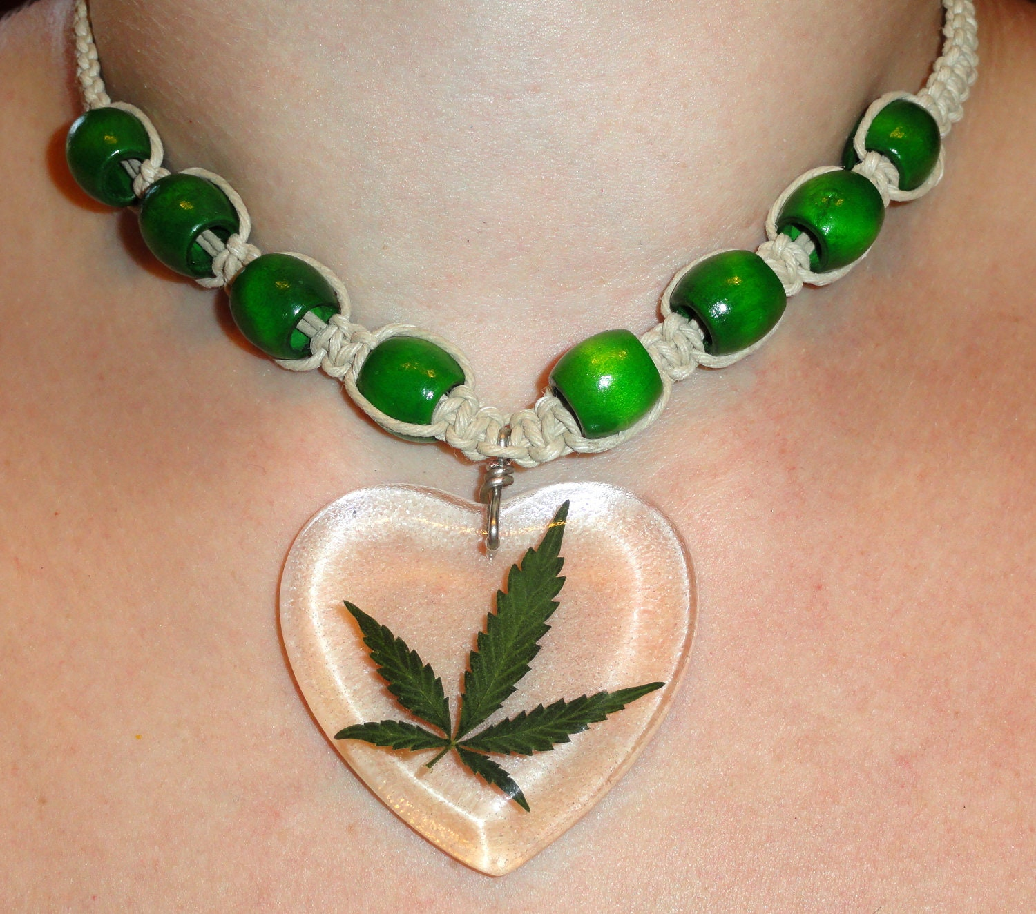 How To Make Hemp Necklaces: REAL MARIJUANA LEAF Hemp Necklace Clear Heart By Thefunkyjunky