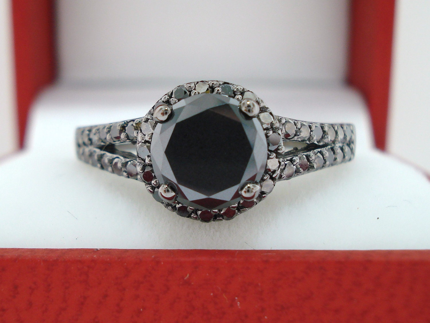Fancy Black Diamonds Engagement Ring Halo 1 60 Carat Vintage