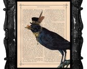 Steampunk CROW Art Print, Clock Top Hat CROW - on a Antique Book page vintage dictionary art print - BlackBaroque