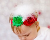 Red and green shabby chiffon rosette w/white feathers and white snowflake attached to a shimmery red headband baby newborn toddler girl