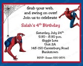 10 Spiderman Birthday Invitations with Envelopes.  Free Return Address Labels