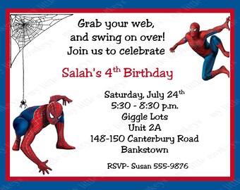 10 Spiderman Birthday Invitations with Envelopes.  Free Return Address Labels