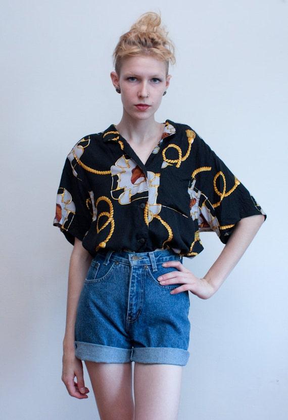 SALE - vintage equestrian blouse / rayon horse print shirt / M