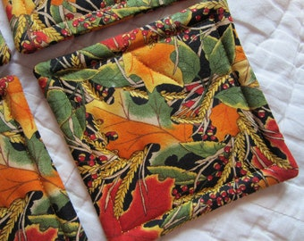 Fall and Wheat Leaves Quilted Coasters (Set of 4)