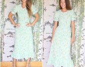 vintage 1960s mint green floral dress - wildflower fields