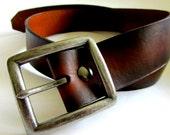 Men's Leather Belt, San Filippo Leather Signature Belt, Men's Brown Belt, Detachable Buckle, Custom Leather Belt
