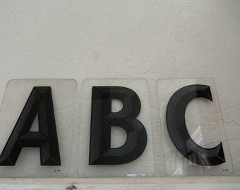 Vintage Plexiglass Letters- A,B,C