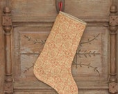 Stocking, Red Design on Burlap