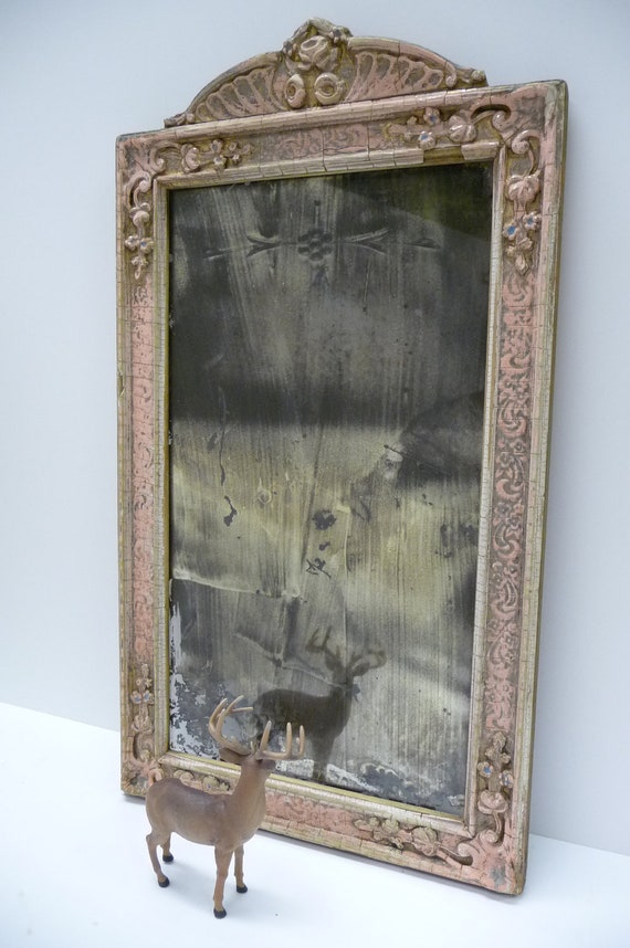 Antique Mirror Ornate wood frame Shabby Chic Victorian Smoky