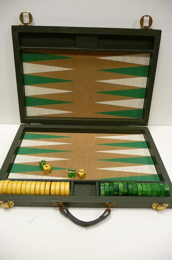 Vintage Bakelite Backgammon Big Cork Board Game Marble