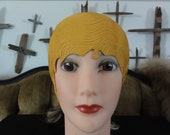 Vintage Swimming Cap Yellow Textured Rubber Fitted Cap by Pretty Products