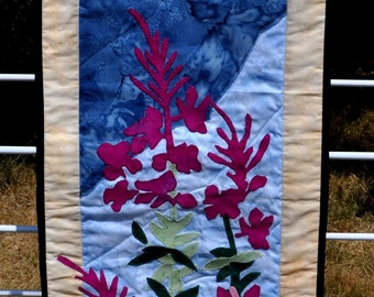 Orchid applique quilted wall hanging
