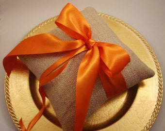 Rustic Burlap and Satin Ring Bearer Pillow - Choose Your Own Ribbon Color.