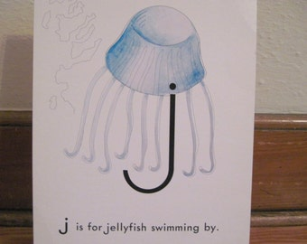 extra large 1970s Alphabet Flash Card - letter J is for JELLYFISH swimming by  - vintage nursery poetry  poster , ready to frame