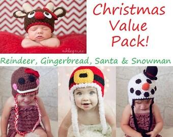 Crochet Patterns - Holiday Hat Value Pack Patterns - Santa, Reindeer, Gingerbread Man & Snowman