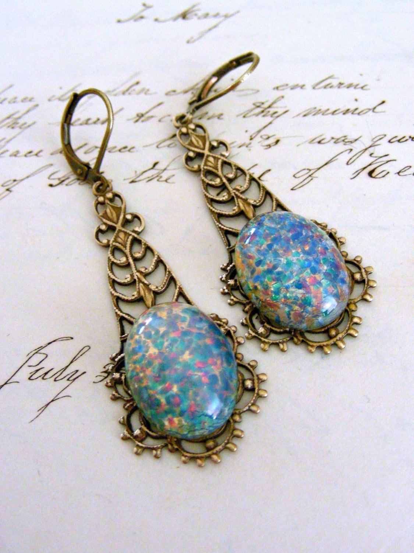 earrings vintage blue opal glass victorian filigree under 25. Black Bedroom Furniture Sets. Home Design Ideas