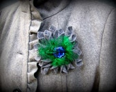 Gray felt brooch with green and blue
