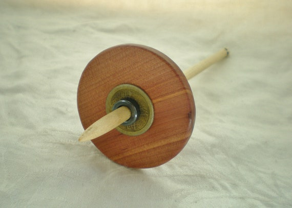 Split notch Drop Spindle Aromatic Cedar and Maple i Ching coin Bottom Whorl 20 g