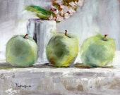 original art work oil painting fine art still life painting green granny smith apples with white flower and tea cup canvas wall art decor