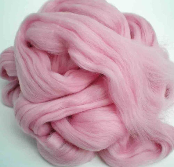 """Ashland Bay Solid Colored Merino for Spinning or Felting """"Pink""""  4 oz."""