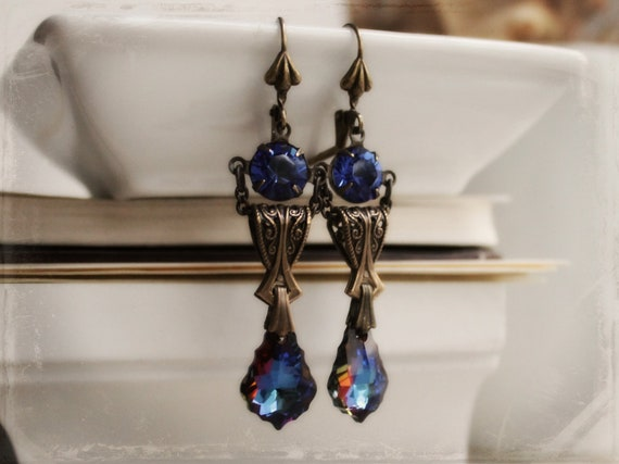 Sapphira Aged Brass and Swarovski Earrings - Blue - Sapphire - September - Victorian - Vintage - Fall - Autumn - Bridal