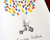 Tricycle with balloon strings, Original Guest book thumbprint balloon art (inks available separately)