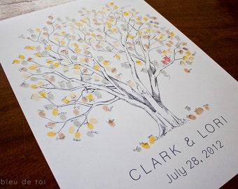 Fingerprint Tree Wedding Guest Book Alternative, Original Hand-drawn Medium Cottonwood Design (ink pads sold separately)
