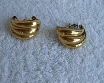 Napier Gold Tone Shiny Hoop Earrings Clip Ons,  Signed