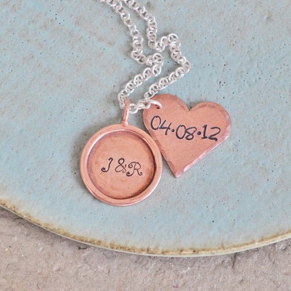 You & Me - Hand Stamped and Personalized Wedding Anniversary Necklace with Initials and Date