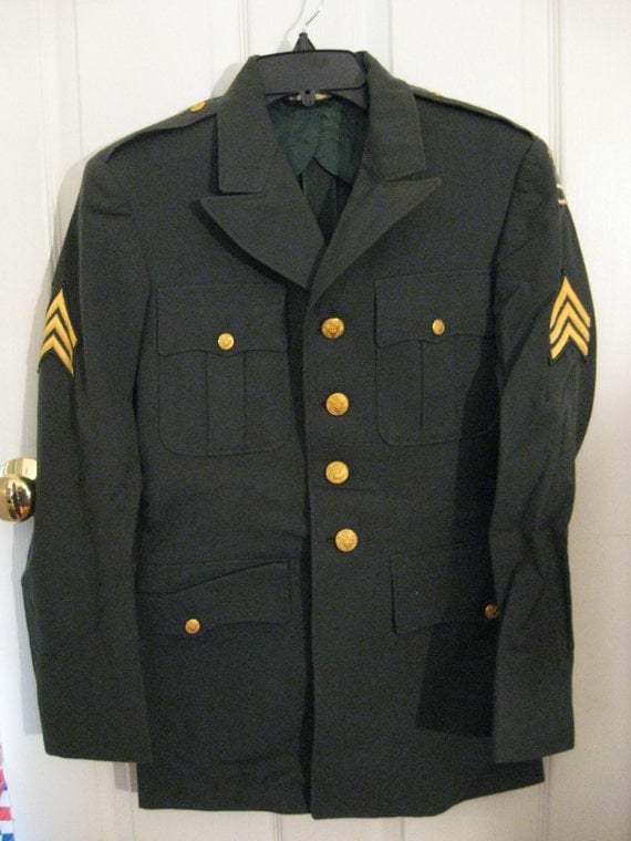 Us Army Military Green Dress Service Uniform Late 50s 1960s