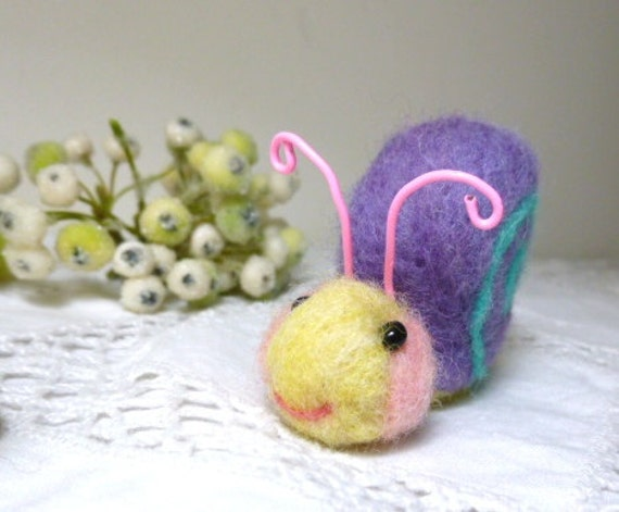 Snail toy or fun decor,bright pastel colors needlefelted wool