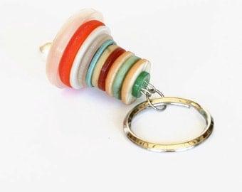 Vintage Button Keyring or Keychain