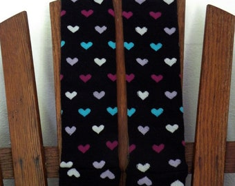 Baby, Toddler and Little Girl Valentine Leggings - Black with Tiny Pink, Purple, Blue and White Hearts