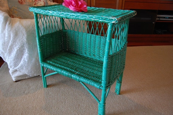 Vintage Chippy Green Wicker table Shabby Chic Cottage Style at Retro Daisy Girl