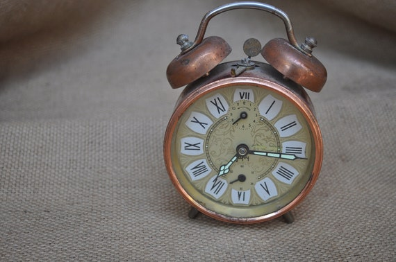 Vintage French Copper Alarm Clock by Japy