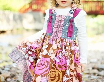 Girls Dress, Back to School Dress, The Jewel Knot Dress, Fall Dress, Toddler Dress, Girls Clothing, Sizes 12MO,18MO-24MO,2T,3T,4T,5T,6,7,8