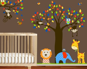 VACATION SALE-All orders ship Aug 15th!!  nursery wall decal sticker vinyl tree and branch jungle decal,red,blue green