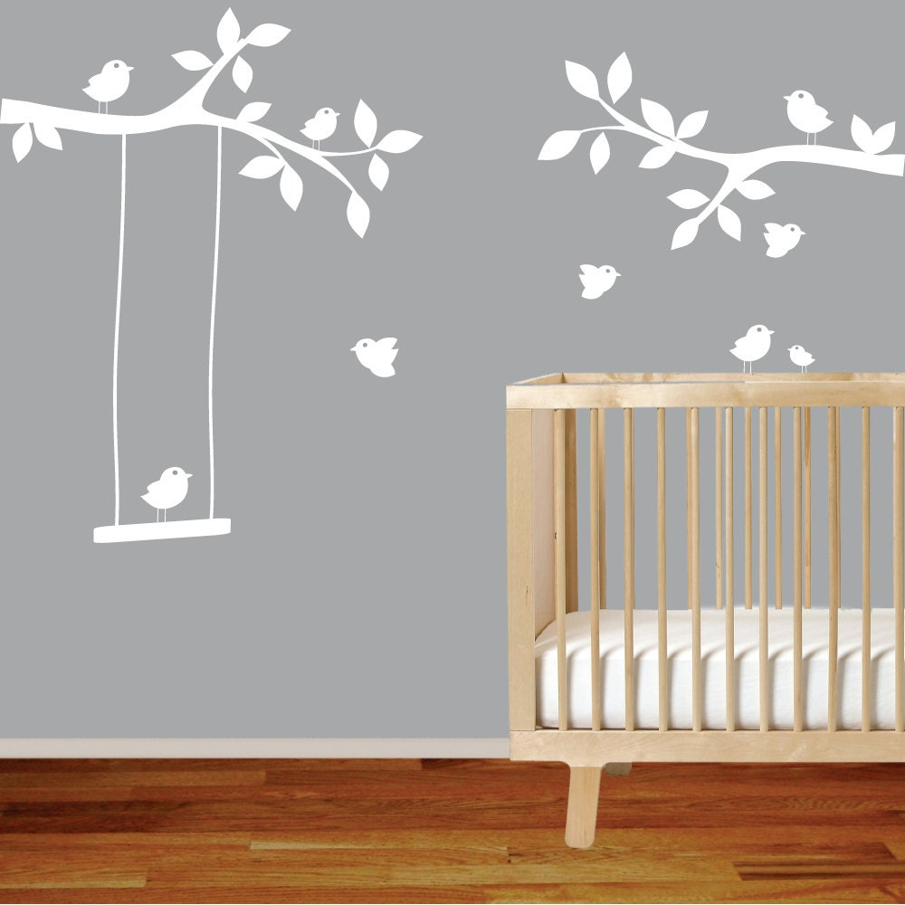 nursery wall decal branch with birdsswingwhite wall decal. Black Bedroom Furniture Sets. Home Design Ideas