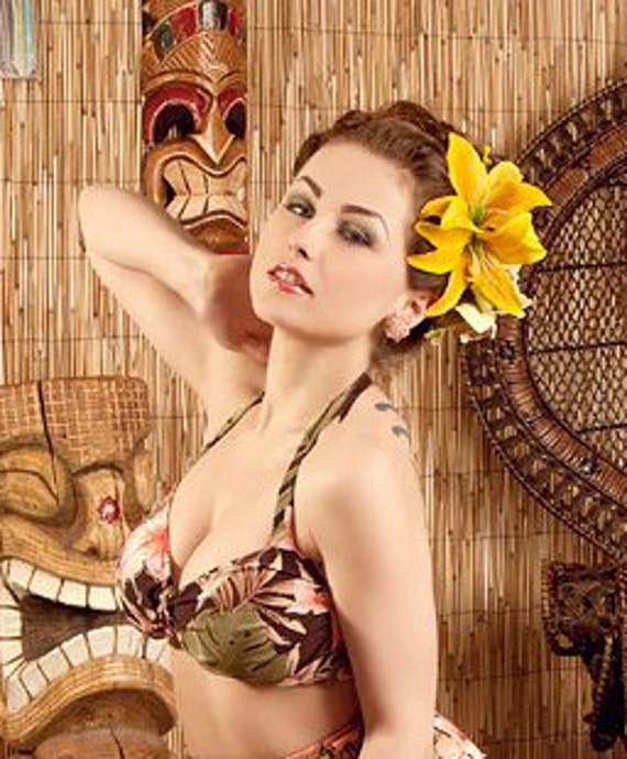 Pin up hair double lily flower in bright yellow rockabilly wedding vintage style real touch