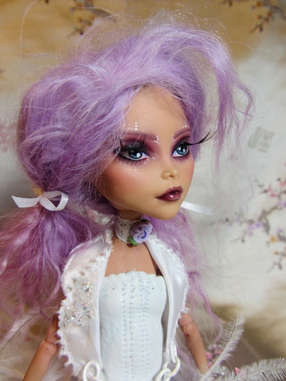 White Lavender and Lace Custom Cleo de Nile- MH doll repaint and hand made outfit by Wicked Paper Dolls OOAK