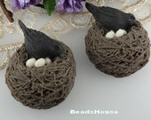 20% OFF - 810-CA  10pcs  Lovely Resin Bird Nest Cabochon,Black Bird