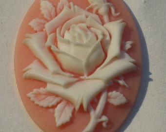 20%off  2pcs - (30 x 40mm) Pretty Oval Rose Cameo Ivory on Pink - (90-00-CM)