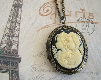 Large Cameo Locket Necklace Graduation Gift Black/Cream Girl Mother Daughter Wife Birthday Anniversary Wedding Photo Pictures - Daughters